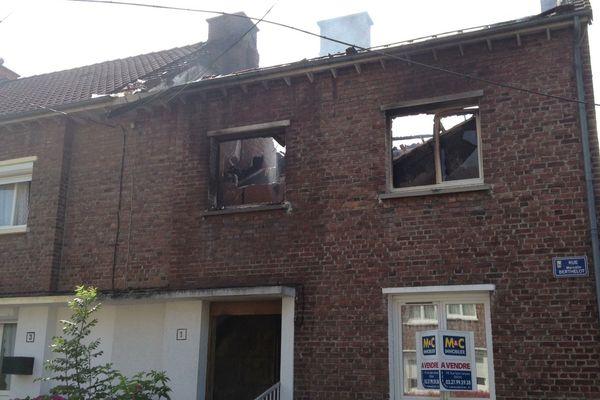 Une des habitations sinistrées, rue Berthelot