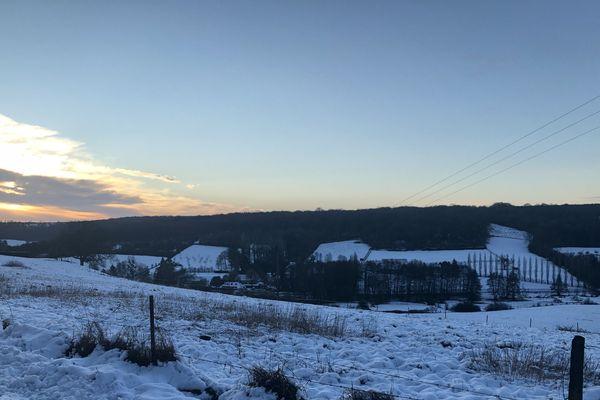 Paysage neigeux à St Germain de Pasquier près d'Elbeuf
