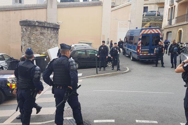 Un fort dispositif de sécurité a été déployé autour du tribunal de Bastia jeudi 31 octobre.