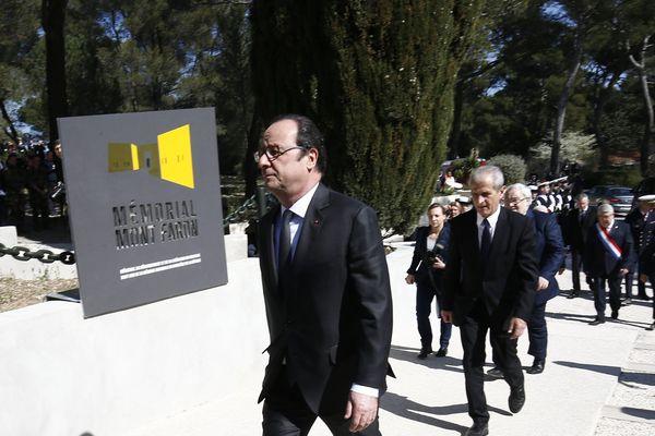 François Hollande au Mont Faron à Toulon pour dévoiler une plaque inaugurale en mémoire du débarquement de Provence
