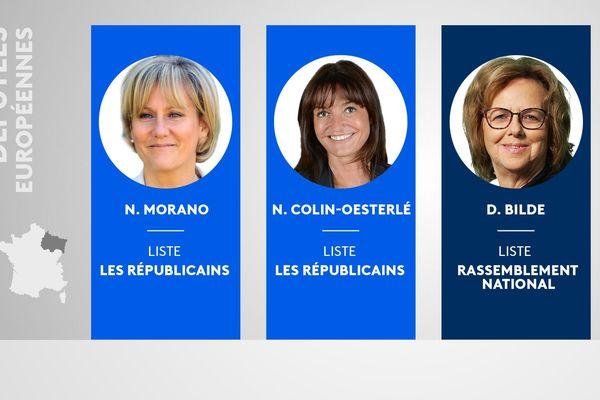 Seules trois lorraines ont été élues députés européens ce dimanche 27 mai 2019: Nadine Morano et Nathalie Colin-Oesterlé pour l'Union de la Droite et du Centre, Dominique Bilde pour le Rassemblement national.