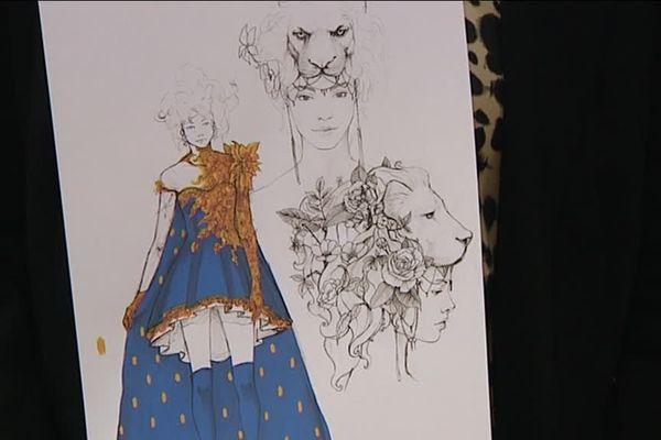 Les croquis de la robe que portera Miss Franche-Comté à l'élection de Miss France le 16 décembre 2016