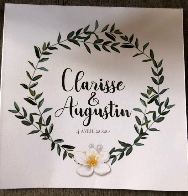 Le faire-part de Clarisse et Augustin