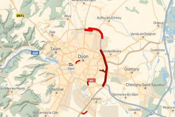 La circulation est fortement perturbée sur le quart Sud - Est de la Rocade (état à 17h12)