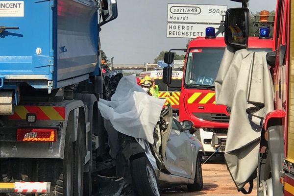 Le 10 août, un camion a embouti une voiture sur l'A35, dans le nord de Strasbourg, entraînant sept autres véhicules.