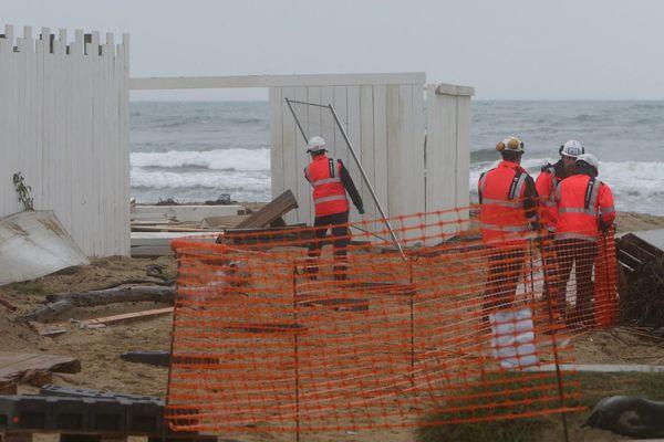 Destruction des restaurant sur la plage de Pampelonne, en octobre 2018