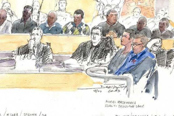 Dessin d'audience du procès en première instance en avril 2013