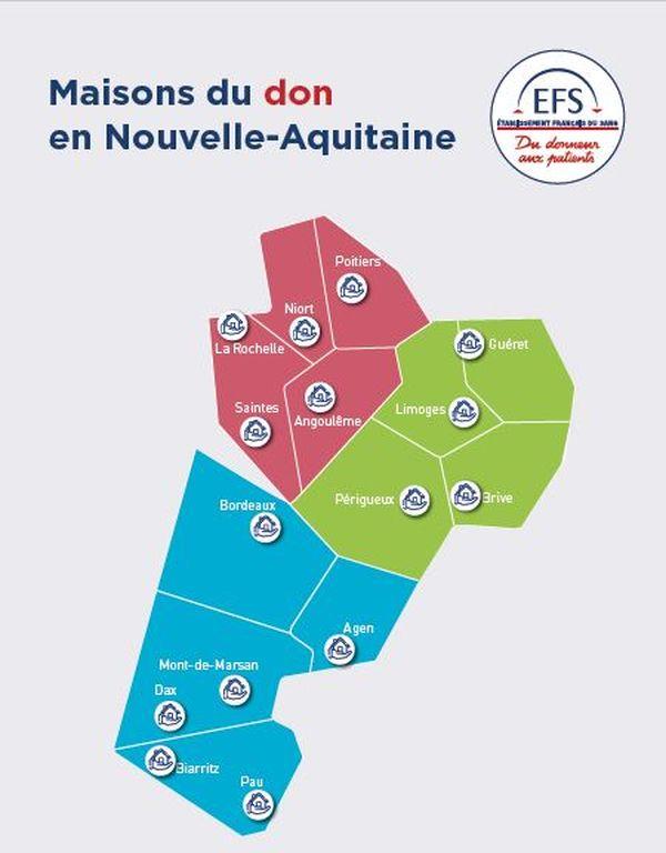 Les centres permanents de don du sang en Nouvelle-Aquitaine