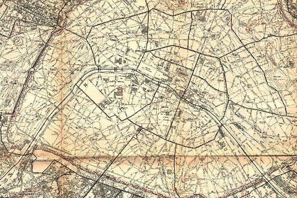Carte de la banlieue de Paris avec les courbes de niveau, 1900.
