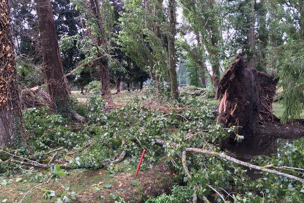 Vendredi 26 juillet un violent orage a occasionné de nombreux dégâts sur les bords d'Allier et à l'Hippodrome de la ville de Vichy (03).