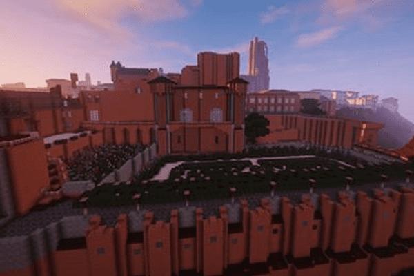 Le palais de la Berbie et les jardins de l'évêché version MineCraft.