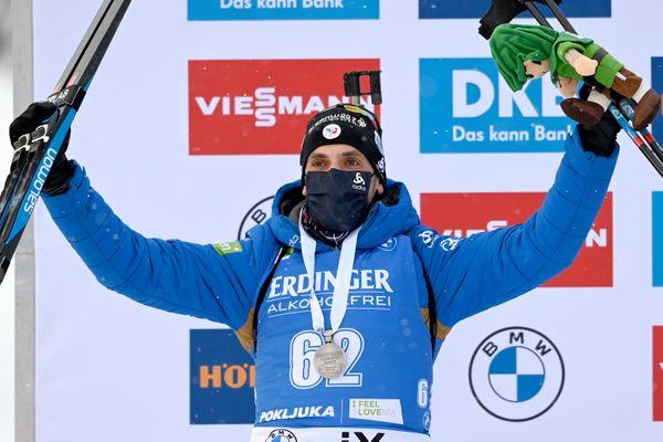 12 février 2021, Pokljuka en Slovénie : Simon Desthieux est médaille d'argent lors du sprint individuel sur 10 kilomètres.
