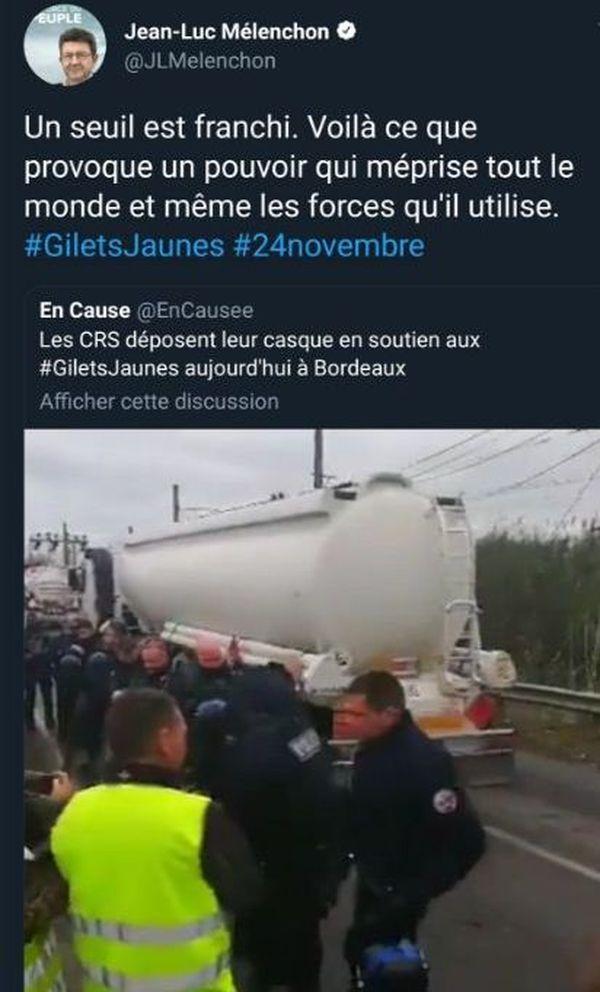 Le retweet de Jean-Luc Mélenchon avec les images des gilets jaunes et des CRS à Frontignan.