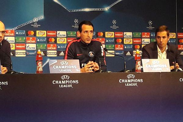 L'entraîneur parisien, Unay Emery, en conférence de presse d'avant-match PSG-OM