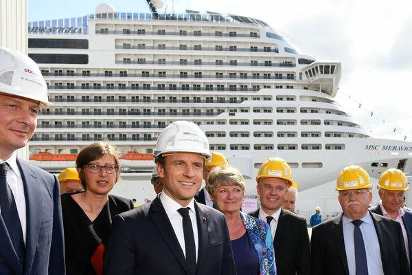Bruno Le Maire en compagnie du président Macron le 31 mai 2017 à Saint-Nazaire