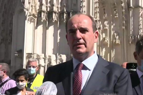 Jean Castex à Nantes le 18 juillet 2020 après l'incendie de la cathédrale de Nantes