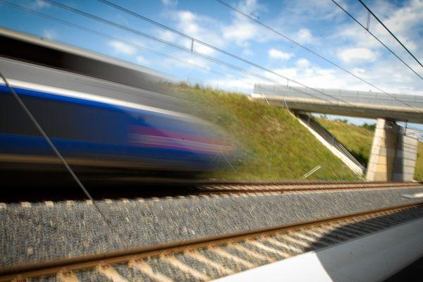 Photo d'archive, mars 2012 - Gare TGV Belfort-Montbéliard à Méroux-Moval. Lors de sa première année d'exploitation, la Ligne à Grande Vitesse (LGV) Rhin-Rhône a transporté 9 millions de voyageurs.