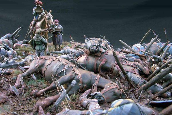 La cavalerie française décimée lors de la bataille.