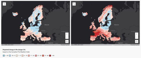 Projection de l'évolution du risque d'incendie de forêt d'ici la fin du 21e siècle pour deux scénarios d'émissions, par rapport à la période 1981-2010.