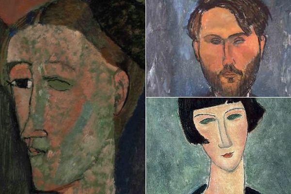 Quelques unes des oeuvres de Modigliani exposées au LaM de Villeneuve-d'Ascq.