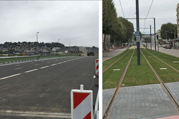 Rouen le 26 août 21018 : le pont Guillaume le Conquérant refait à neuf et la voie du métro rénovée et engazonnée