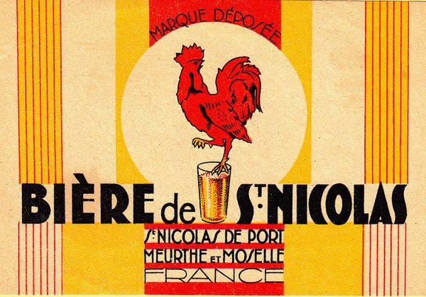 Ancienne étiquette de la bière de Saint-Nicolas-de-Port.