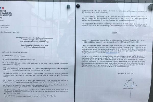 L'arrêté préfectoral de fermeture du collège Arthur Rimbaud à Donges