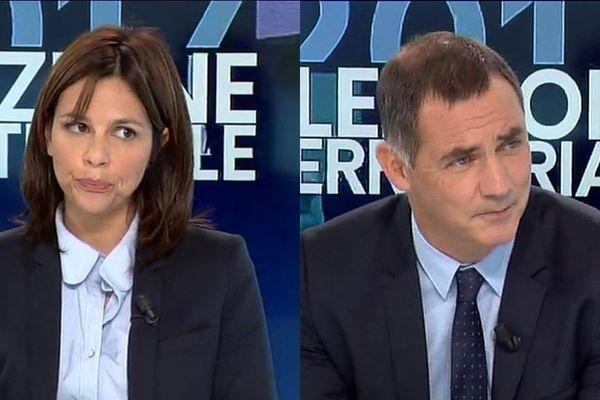 """Valérie Bozzi (droite), tête de liste """"Voir plus grand"""" et Gilles Simeoni (nationaliste), liste """"Pè a Corsica """""""