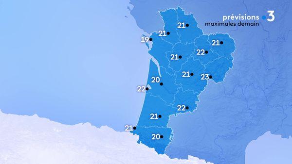 Les températures maximales seront comprises entre 19 degrés à la Rochelle et 23 degrés le maximum à Brive.