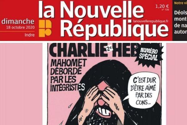 Une de la Nouvelle République représentant une caricature de Mahomet réalisée par Charlie Hebdo