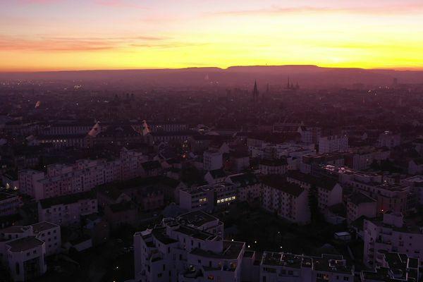 Coucher de soleil sur Dijon.