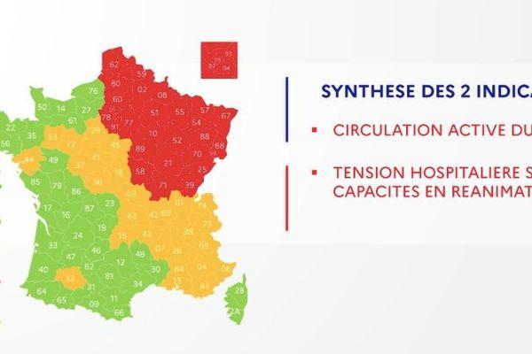 Sur cette carte de la Direction Générale de la Santé publiée ce vendredi 1 er mai, tous les départements normands sont désormais en vert. Cette carte sera confirmée le 7 mai prochain.