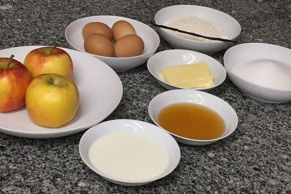 Les ingrédients pour préparer la recette de la flognarde du Limousin réinventée par le chef creusois Stéphane Nougier