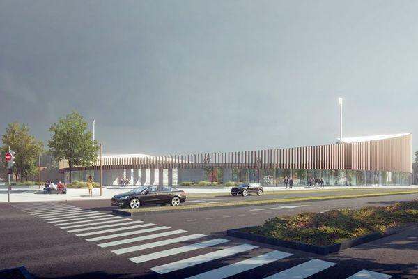 Vue du futur stade Tribut de Dunkerque depuis le parvis d'entrée.