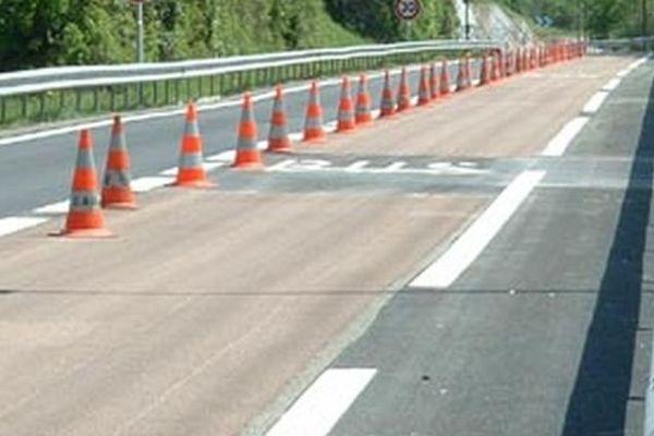 Neutralisation d'une voie d'autoroute (illustration)