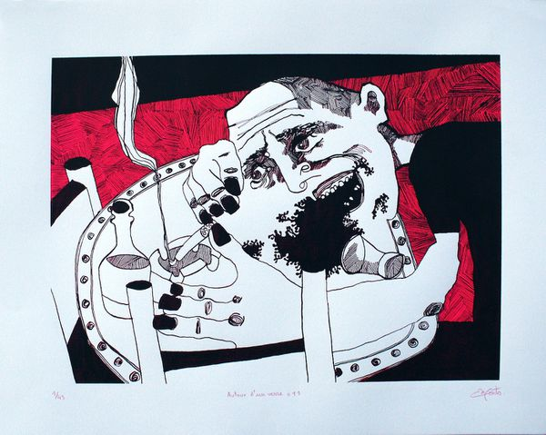 """Matthieu Exposito a dessiné pendant trois ans les bars de Pantin. Les sérigraphies qu'il en a tirées s'appellent """"autour d'un verre""""."""