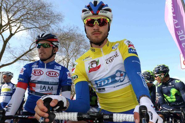 Le Français Marc Fournier au départ de l'étape à Angers, le jeudi 7 avril 2016.