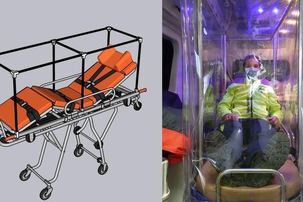 Grâce à un élan de solidarité, un prototype de protection de brancard a été mis en place à Clermont-Ferrand : un outil précieux dans le cadre de l'épidémie de coronavirus COVID 19.