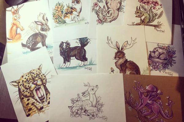 Dessins de diverses créatures plus ou moins fantastiques imaginées par Maryline Weyl