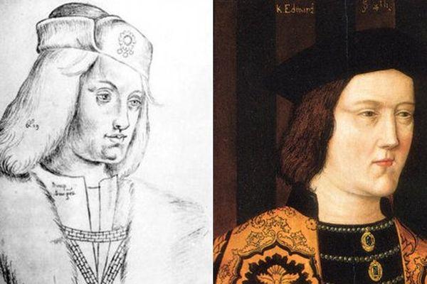 A gauche, le portrait de Perkin Warbeck conservé à Arras. A droite, celui d'Edouard IV d'Angleterre.