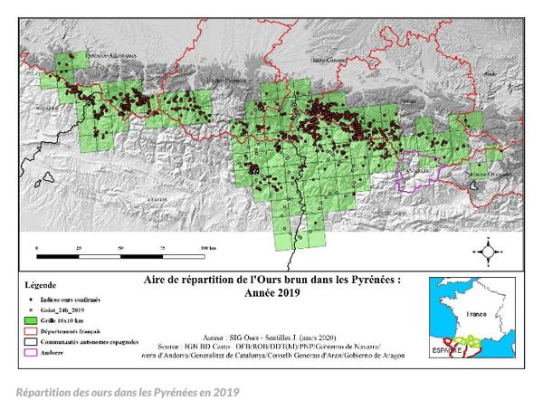 Le territoire des ours dans les Pyrénées s'est agrandi notamment vers le sud, entre la Catalogne et l'Aragon.