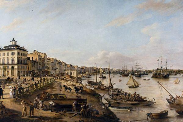 Vue d'une partie du port de Bordeaux depuis les quais des Chartrons en 1806 par Pierre Lacour