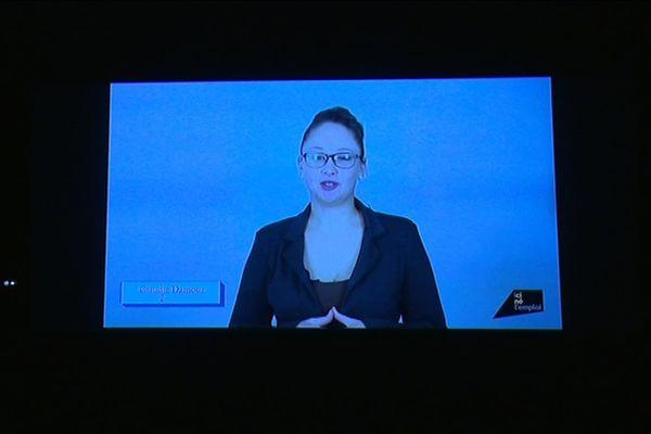 """Claudie est une des participantes au projet """"Ici né l'emploi"""". Son cv vidéo est projeté dans les salles de cinéma d'Alençon"""