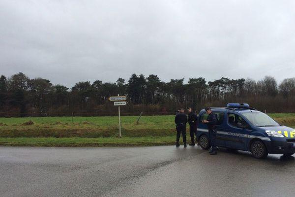 Un bois, au lieu-dit Coat-Mez sur la commune de Dirinon (Finistère), bouclé par les gendarmes
