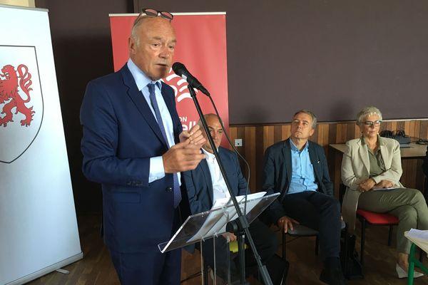 Alain Rousset, président PS de la région Nouvelle-Aquitaine en visite à Masseret (Corrèze), le 4 septembre 2018