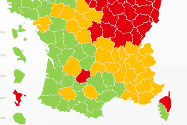 Sur cette première carte de déconfinement, le département du Lot apparaît comme le seul en rouge dans tout le Sud-Ouest.