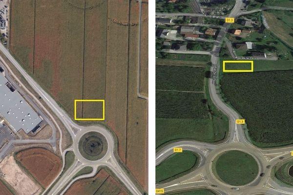 On peut trouver deux campements sur terrain privé prêté par des particuliers à Horbourg-Wihr (à gauche, route de Neuf-Brisach au sud de la commune) et à Volgelsheim (à droite, rue de la Paix au sud de la commune).