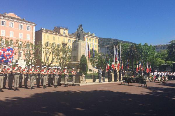 Commémoration à Bastia du 72e anniversaire de la victoire des Alliés sur l'Allemagne nazie et la fin de la Seconde Guerre mondiale en Europe.