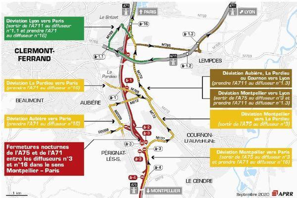 Des alternats de circulation sont mis en place sur l'A75, près de Clermont-Ferrand.