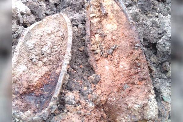 Le nouvel obus découvert sur le chantier de l'ancienne prison d'Orléans.
